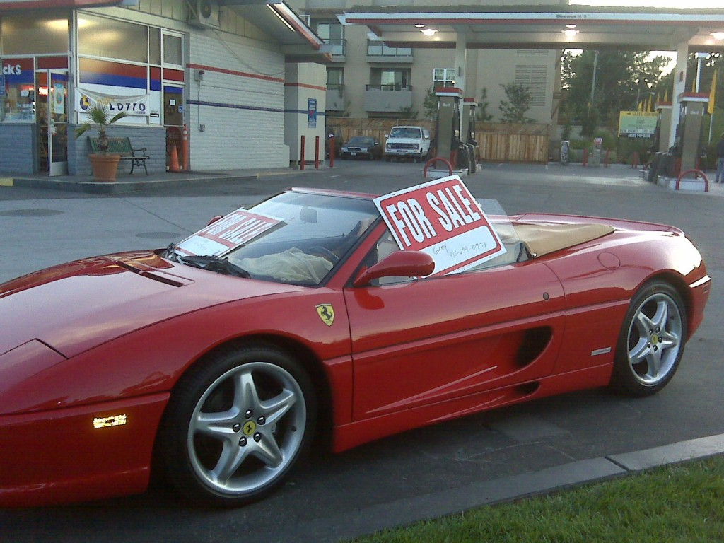 Ferrari owners puts his Ferrari Spider 355 for sale at local gas station. Only in Silicon Valley.